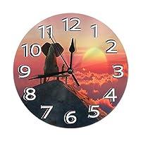 掛け時計 壁掛け時計 象と犬は山の上に座る インテリア 連続秒針 小さい ファッション ミュート フレームレス 二重使用 部屋の装飾 ホーム ベッドルーム キッチン プレゼントオススメ