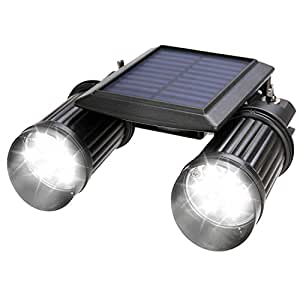 センサーライト Gather Sun 1.4W×2灯 LEDソーラーセンサーライト 360角度調整可 ソーラー 屋外 エクステリア 照明 防犯グッズ 防犯ライト ledライト センサー led 人感センサー ライト 屋外照明/軒先/駐車場/庭先/玄関周りなど対応 夜間自動点灯