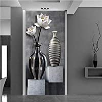 Lcymt Hd黒と白の蓮の花瓶3 D神秘的な背景の壁カスタム大フレスコ緑の壁紙-400X280Cm