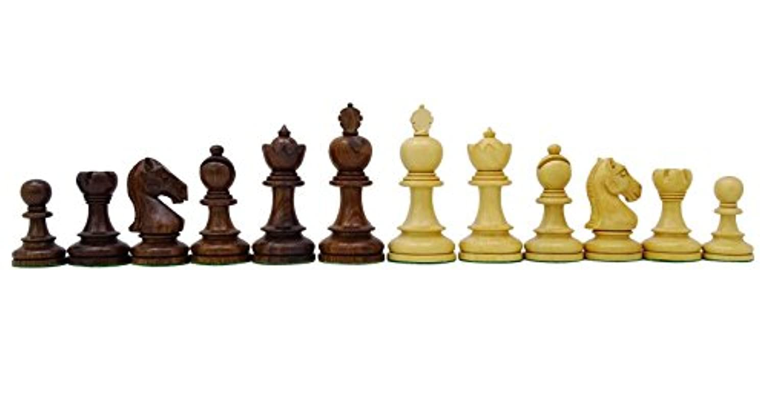 Chessmate Golden Rose Wood Staunton Chessmen Hand Crafted Heavy Chess King's Height 91 mm Gift For Him