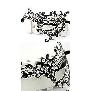 ヴェネツィアンマスク ブラックメタル コスチューム用小物 男女共用 約17cm×14cm×6.5cm