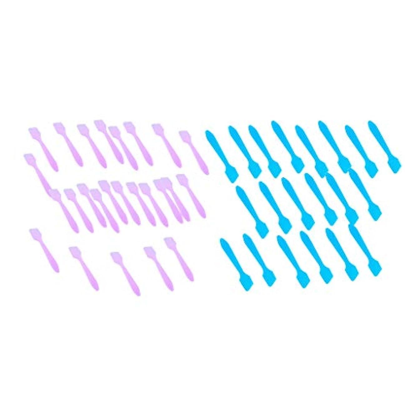クランシー趣味寝室を掃除する200個セット フェイシャル フェイスマスク混合ツール 化粧品へら 全2選択 - 青+ピンク