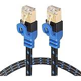 モデムルータLANネットワーク用の金メッキCAT7フラットイーサネット10ギガビット2色編組ネットワークLANケーブル、シールド付きRJ45コネクタ付き、長さ:15m ハイクオリティ