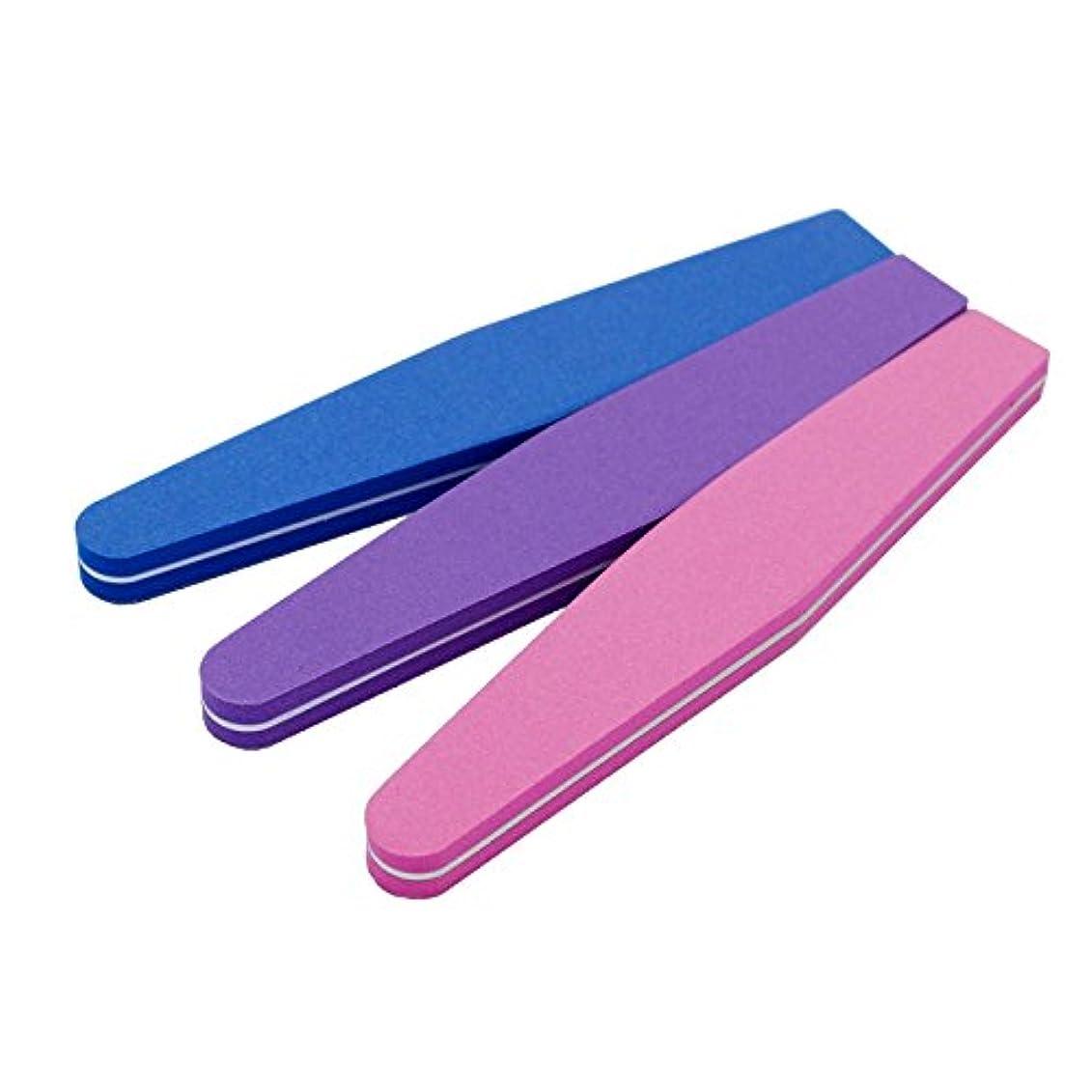 アイデア市の花腹JomMart スポンジ ネイルファイル 爪用ヤスリ 3色セット(ピンク パープル ブルー) BY0040