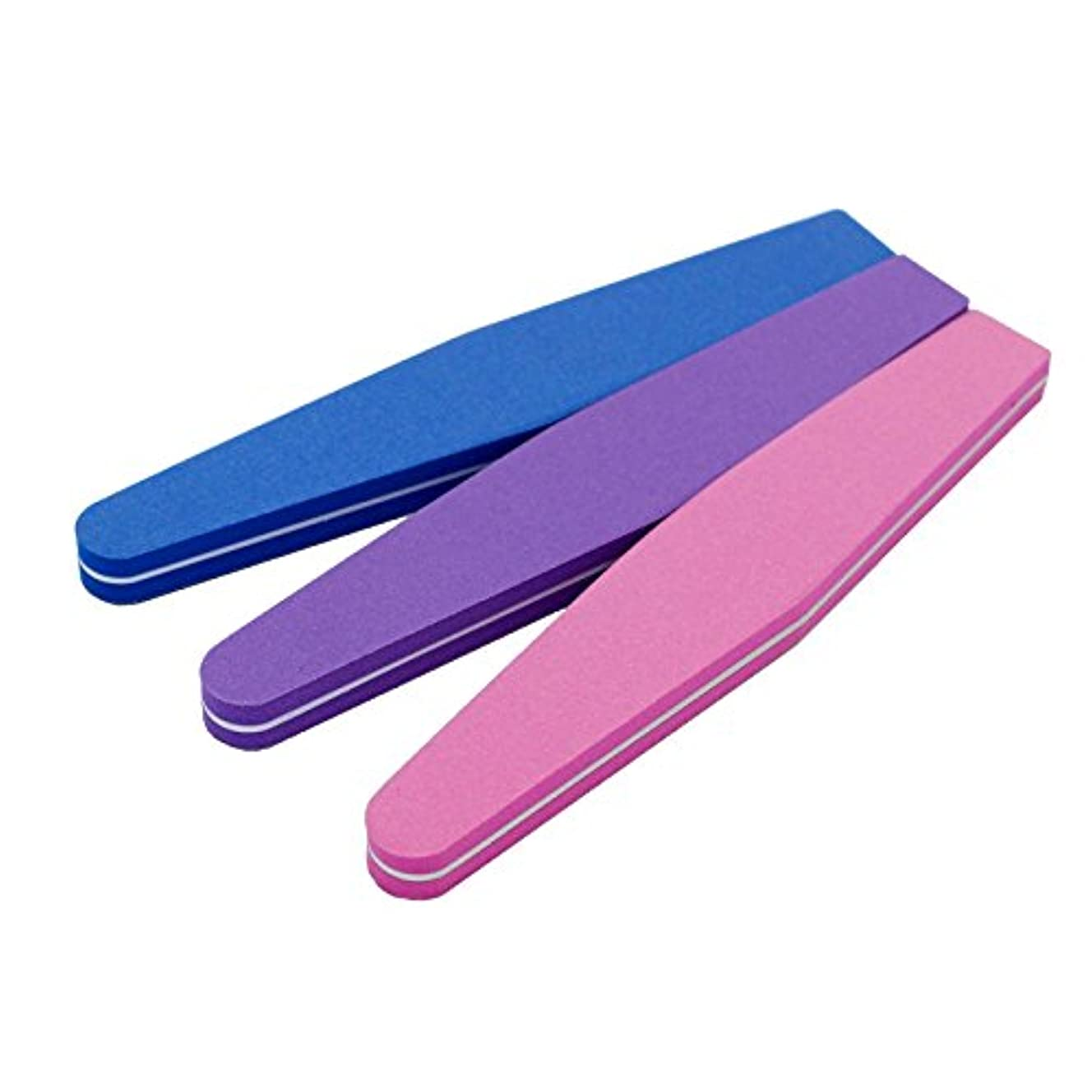 脇に想像力シンプルさJomMart スポンジ ネイルファイル 爪用ヤスリ 3色セット(ピンク パープル ブルー) BY0040