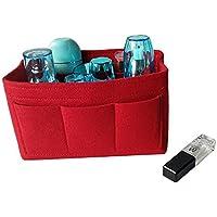 ソニーmdr7506 Feltコスメティックバッグ、複数のポケットフェルトバッグinバッグ財布ハンドバッグオーガナイザーの女性、トートバッグ挿入バッグ レッド 7025779876994