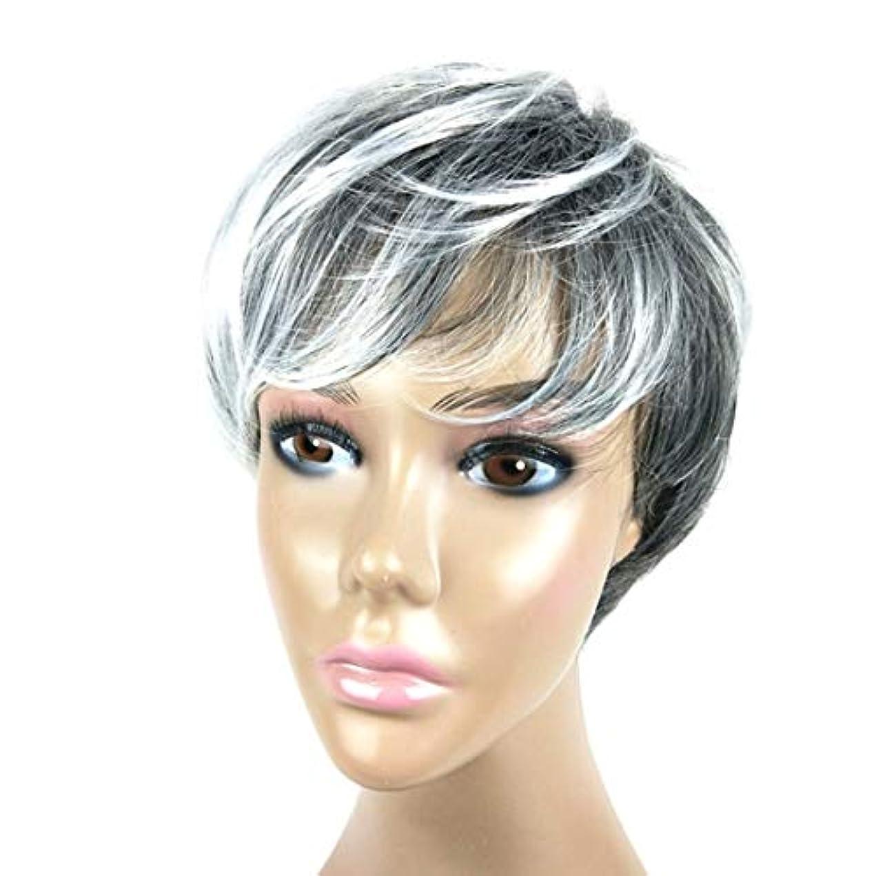 シネマ櫛労働者Kerwinner メンズショートヘア白黒グラデーションカラーウィッグ
