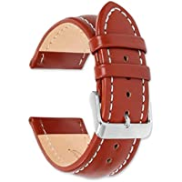 deBeer brand Breitling Style Oil Tanned Leather Watch Band (Silver & Gold Buckle) - Havana 18mm