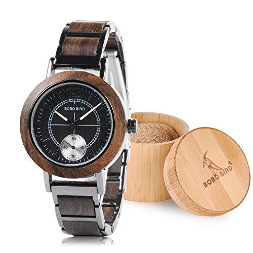 a375ac6e66 BOBO BIRD レディース スタイリッシュ カジュアル 木製腕時計 シンプル ファッション クォーツ 腕時計 ブラウンの画像