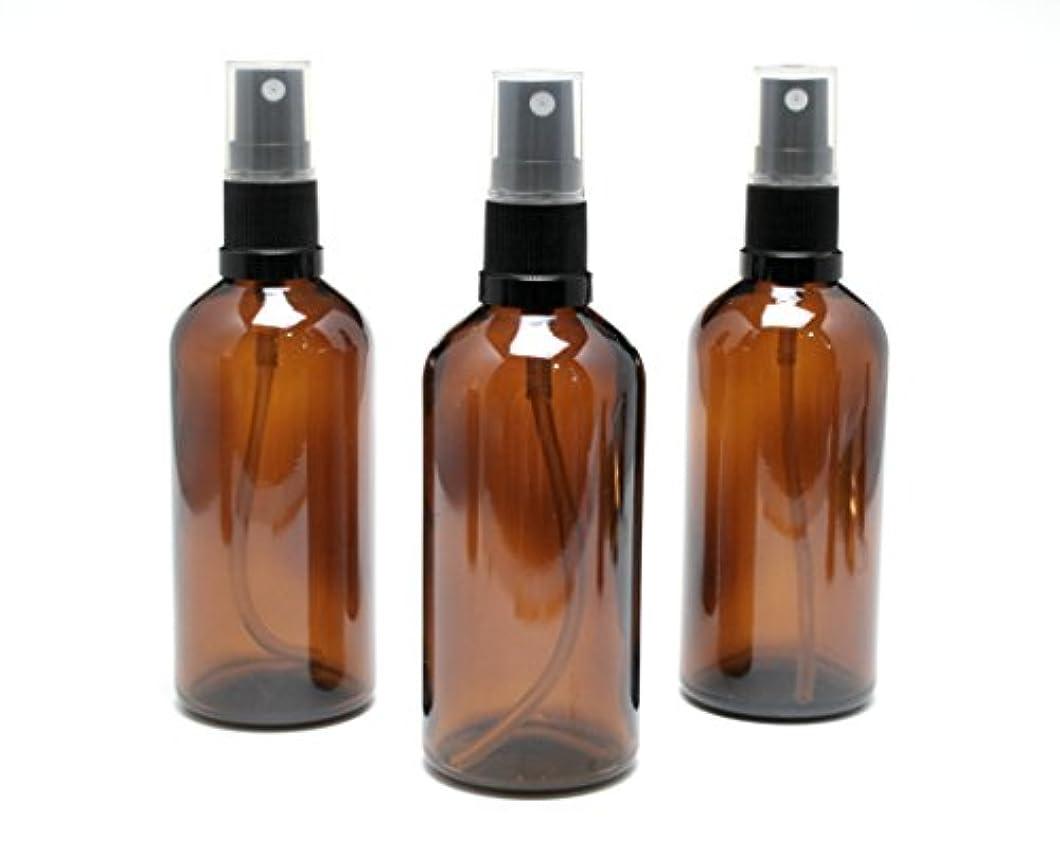 全能行為期待する遮光瓶 スプレーボトル 100ml アンバー/ブラックヘッド(グラス/アトマイザー) 【新品アウトレット商品 】 (1) 3本セット)