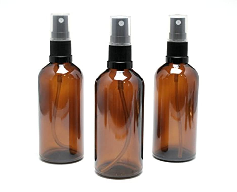 遮光瓶 スプレーボトル 100ml アンバー/ブラックヘッド(グラス/アトマイザー) 【新品アウトレット商品 】 (1) 3本セット)