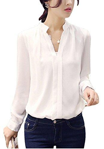 LiliumoonセンタータックデザインVネックゆるとろみシャツブラウストップスプルオーバー/長袖半袖ポケット付き3タイプ/シフォン無地きれいめオフィスデイリー着まわしレディースファッション/SMLXLXXLサイズ白ピンク(M,ホワイト)