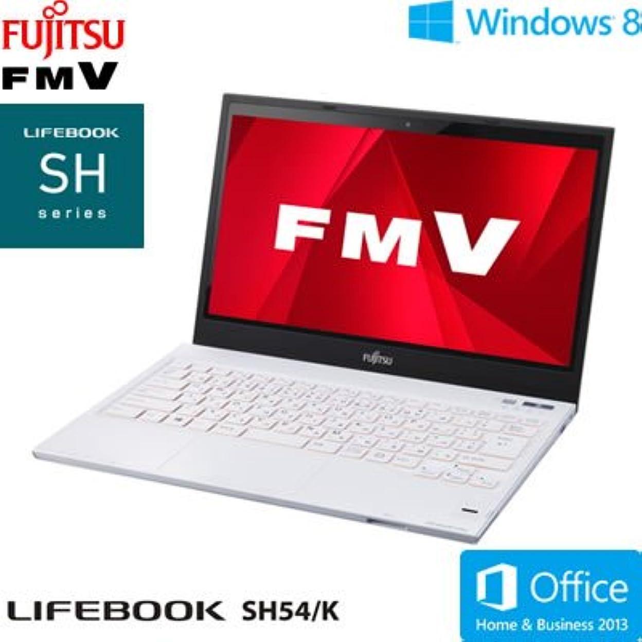 ブラインドなぜなら地上の富士通 ノートパソコン FMV SH54/K(Office Home and Business 2013搭載) FMVS54KW