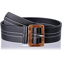 Jaggar Women's Stitch Leather Belt, Black, 0.5/1 US
