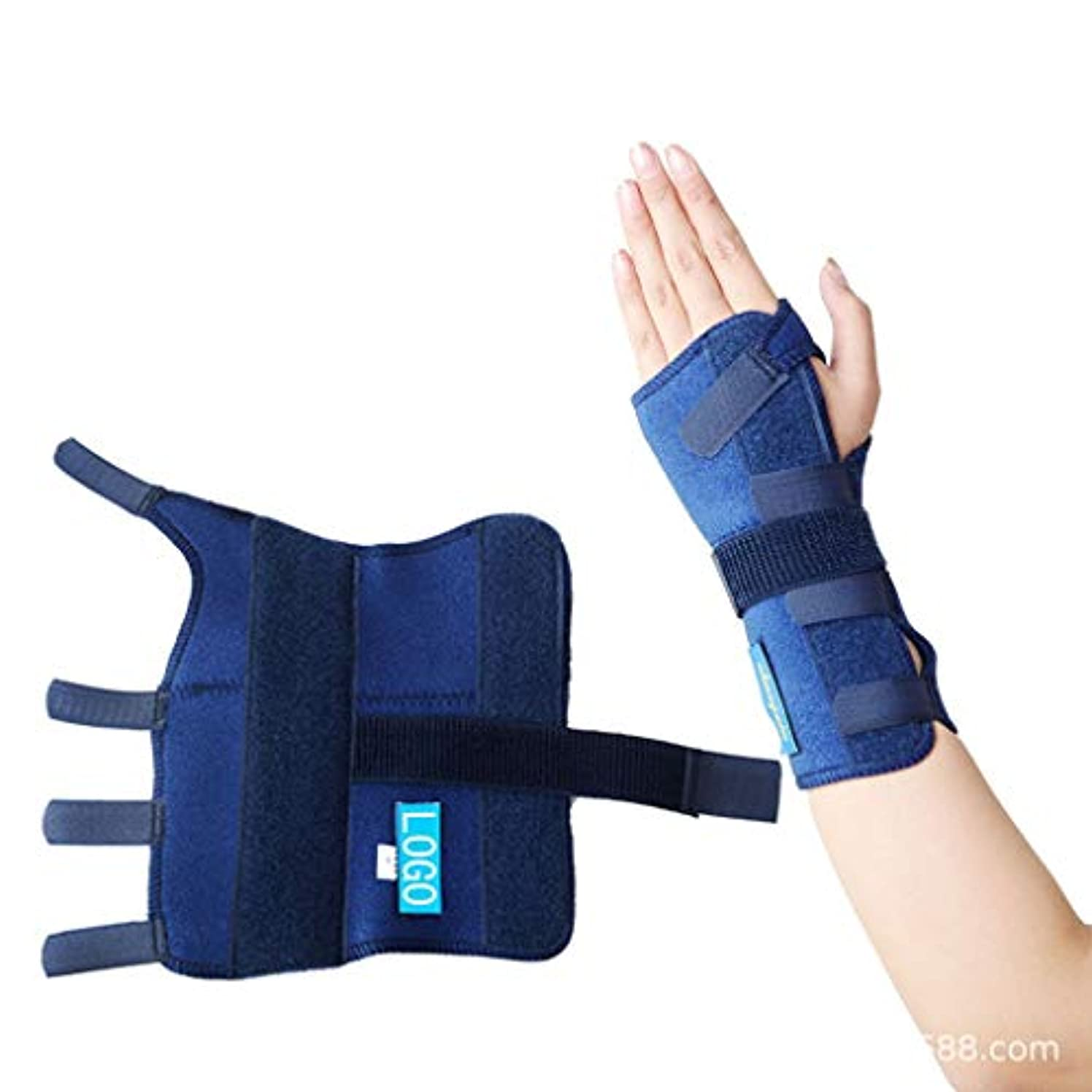 パラメータビル直立レリーフブレースコレクター親指手首傷害回復スプリント指セパレーター手矯正手根管関節痛リリーフコレクター指スプリント,Bluerighthand,XL