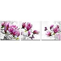 [グレーアート]アートポスター 絵画 モダン-アートパネル 絵画 インテリア -油画 風景画 壁掛け- モダン 壁飾り- 写真 - 印刷布製 - キャンバス絵画 - フラワー ピンクの花 3パネルセットマリンココナッツ