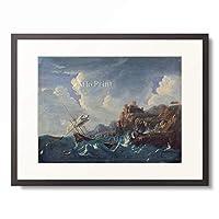 Pieter Mulier II (Cavalier Pietro Tempesta) 「Sea Storm at a rocky shore with a shipwreck. 1680s」 額装アート作品