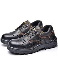 MONYEAR軽量 通気性★革製2層底 安全靴 801通気 作業靴 つま先靴底防護鋼片付き 防水 絶縁 耐油性 刺す叩く防止