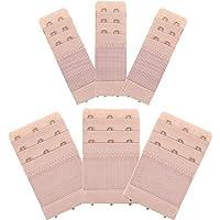 Bememo 6 Pieces Women's Bra Extenders Elastic Stretchy Bra Extension Strap, 3 Rows x 3 Hooks, 3 Rows x 2 Hooks