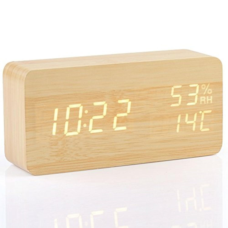 Angel one正規品 木目調 デジタル時計 LED目覚まし時計 置き時計 多機能 日付表示 音声感知 温度湿度表示 USB給電 省エネ インテリア プレゼント