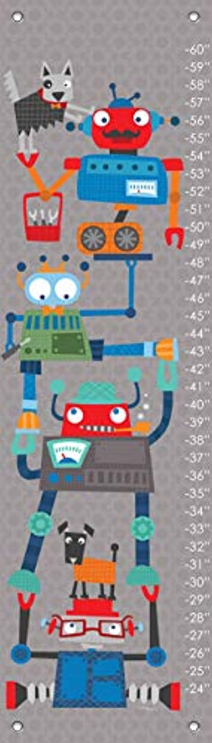 Oopsy Daisy Fine Art for Kids Robot Stack Growth Chart by Vicky Barone, 30cm x 110cm