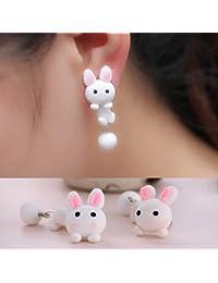ファッションピアス おもしろ 立体 3D バックキャッチ 1個 片耳 フィギアピアス(ラビット) うさぎ 1個販売 レディース アニマル キャッチピアス 人気 プレゼント