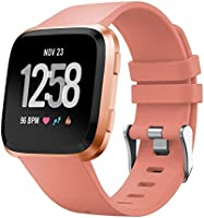TERSELY Band Strap for Fitbit Versa/Versa Lite, Classic Soft TPU Silicone Sports Adjustable Bands Fitness Sport Bracelet...