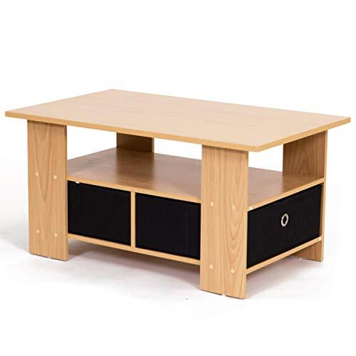 【お得な収納ケース2個付き 使いやすいセンターテーブル】(80×48cm) すっきり片付く収納テーブル 中下段で3分割 木製ローテーブル 訳有り (ナチュラル色)