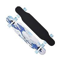 スケートボード、完全なツインチップロングボードスケートボード-複数のスタイル、10代の大人初心者初心者女の子男の子子供,E