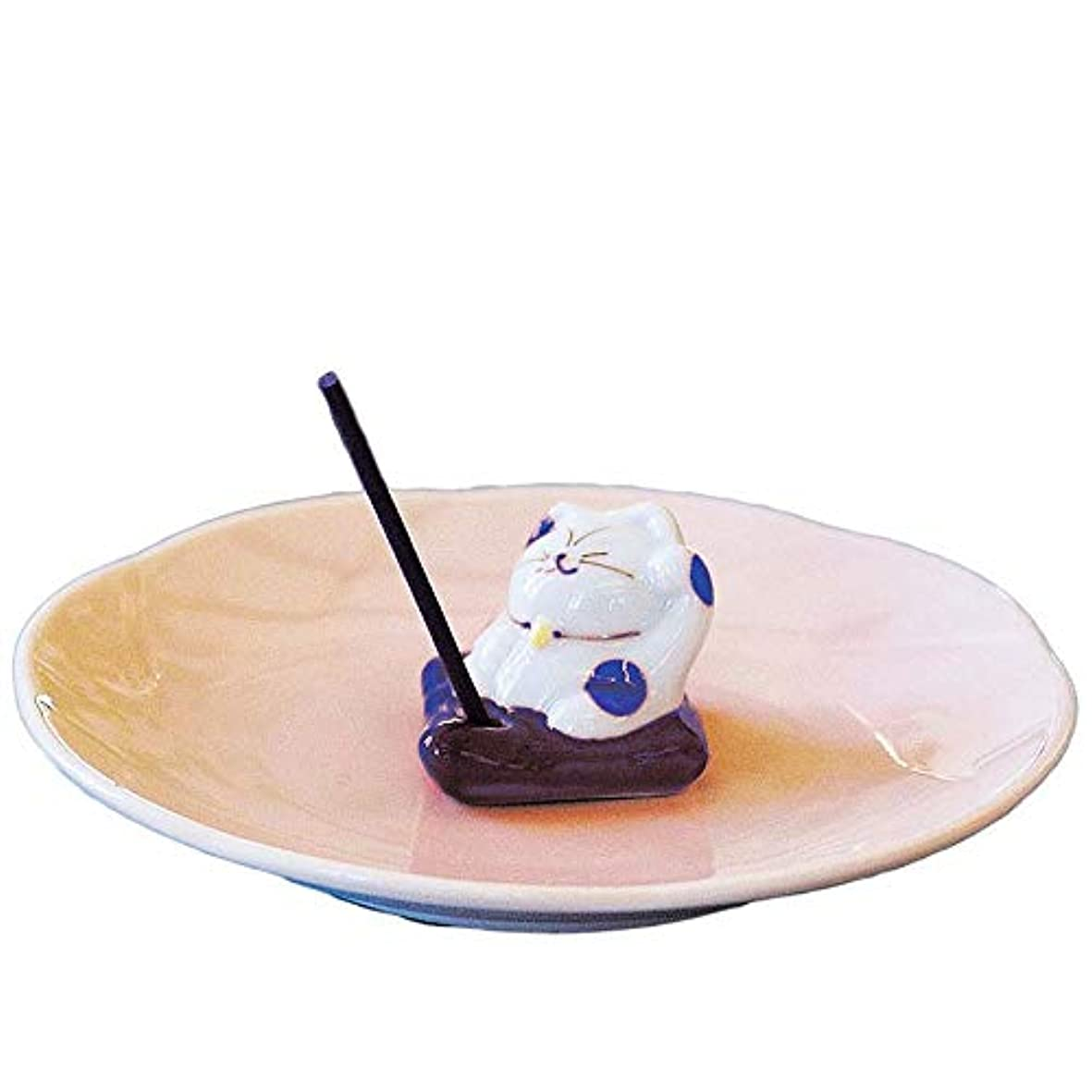 二次期待するサンプル香皿 香立て/ザブトンネコ 香皿 ブルー/香り アロマ 癒やし リラックス インテリア プレゼント 贈り物