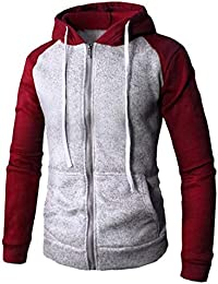 gawaga メンズロングスリーブカラーブロック屋外フルジップパーカースウェットシャツジャケット