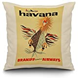 Braniff Airways – ハバナヴィンテージポスター 18 x 18 Pillow (Natural Border) LANT-3P-PW-NL-60610-18x18