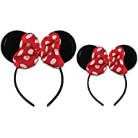 Disney Girls Little Girls Minnie Mouse Headband Set with Polka Dot Bow, Mommy and Me Matching Set
