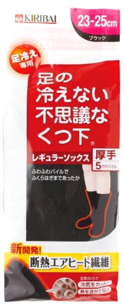 迷路工業用寓話足の冷えない不思議な靴下 レギュラーソックス厚手ブラック23-25cmPP