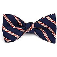 Josh Bach Men's Candy Cane Christmas Holiday Self Tie Silk Bow Tie in Blue, Made in USA