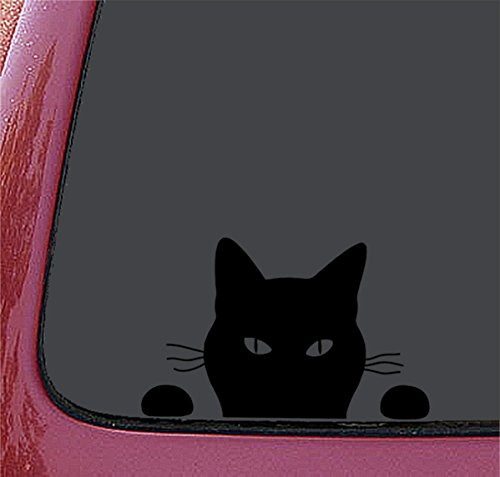 猫 ネコ ねこ キャット cat ウォッチング 覗き 見てるわよ ステッカー シール デカール ブラック