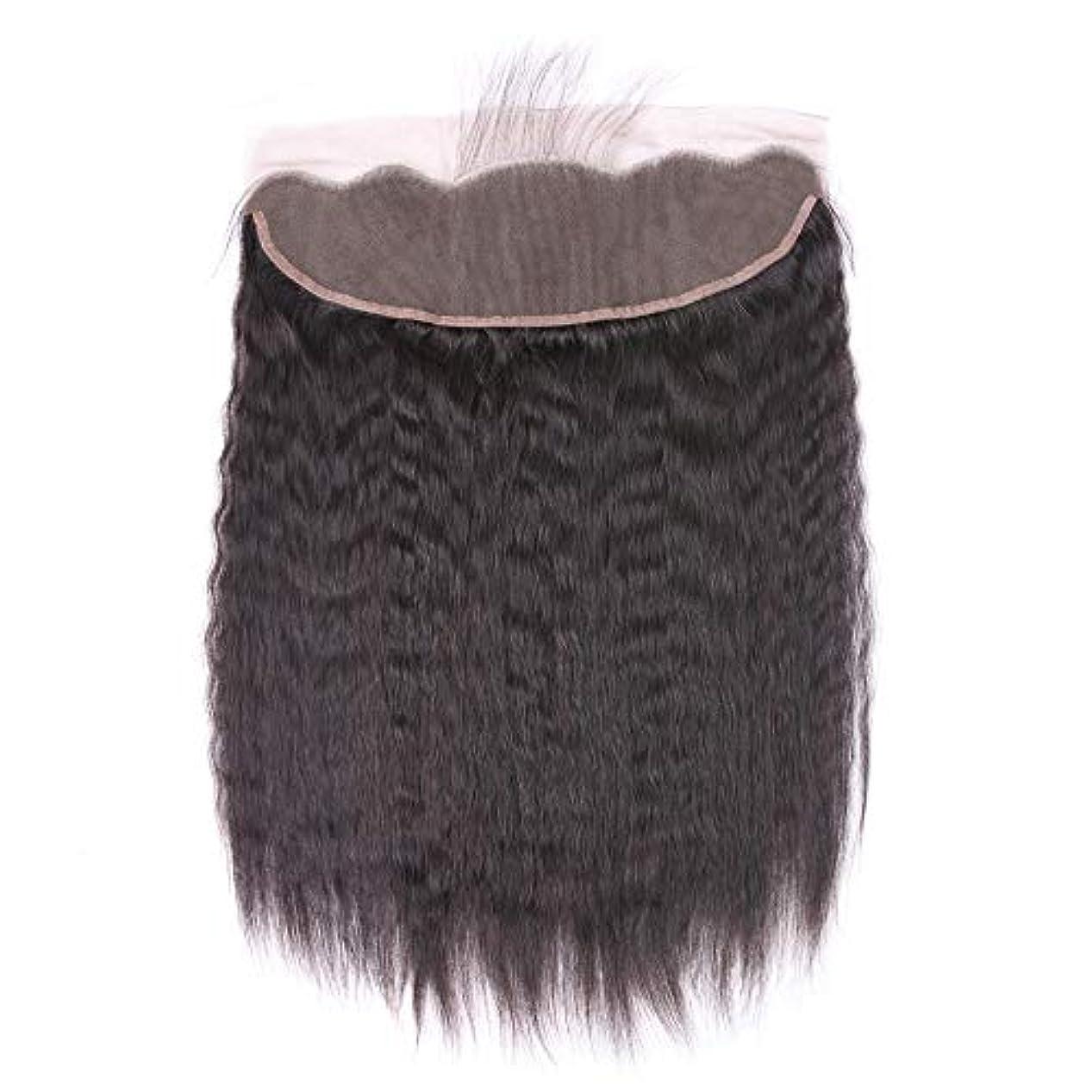 補充拒絶する統合するWASAIO 短いストレートヘアブラジル13 * 4トップレース前頭閉鎖焼きそばストレートバージン人間の髪の毛の自然な色 (色 : 黒, サイズ : 12 inch)