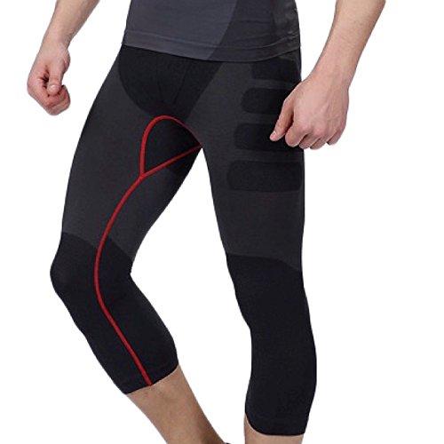 DENTIA スポーツスパッツ 着圧 機能性肌着 基礎代謝を上げて脂肪燃焼 スポーツインナー 7分スパッツ ブラック/レッド L