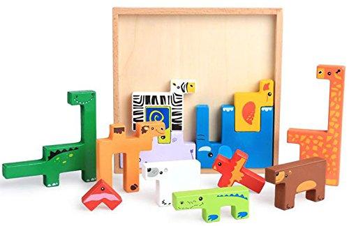 動物 テトリス パズル 積み木 型はめ 形合わせ 木製 つみき ブロック 木の おもちゃ 知育 玩具