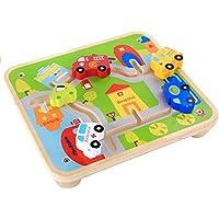 Zhenyu ベビー木製玩具 積み木 トラックゲーム 小型 車 学習 教育 子供 玩具 都市 交通 テーブルゲーム