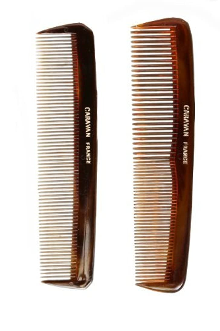 Caravan Tortoise Set Of 2 Shell Comb, Pocket Teeth [並行輸入品]
