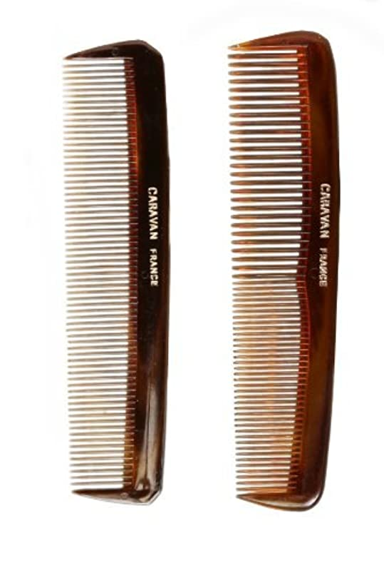 シリンダー囲い名誉Caravan Tortoise Set Of 2 Shell Comb, Pocket Teeth [並行輸入品]