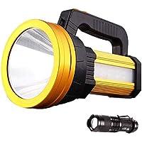 【緊急用・非常用】 LED懐中電灯 高輝度 6500mAh 小さい懐中電灯付き 2セット ハンドヘルドサーチライト調光対応 防水 サイドエリアライト 携帯充電可能 災害対策 フラッドライト アウトドア サーチライト