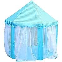LuCoOファッションゲームテントプリンセス城子供のテントゲーム家の再生の子供ポータブルテントWigwamベビービーチおもちゃアウトドアキャンプもOK ブルー Lu-2332654