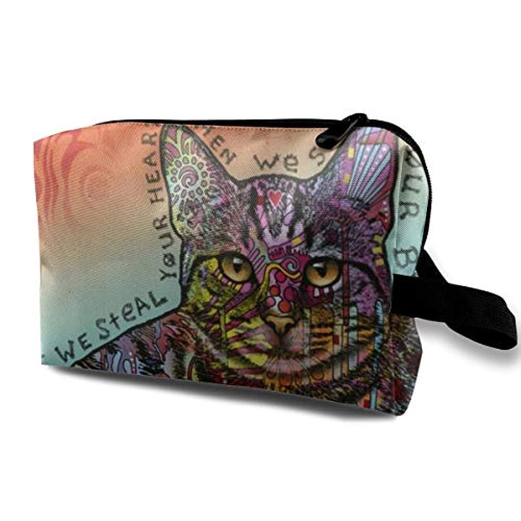 生産的どきどき部分的にSteals Your Heart & Bed Cat 収納ポーチ 化粧ポーチ 大容量 軽量 耐久性 ハンドル付持ち運び便利。入れ 自宅?出張?旅行?アウトドア撮影などに対応。メンズ レディース トラベルグッズ