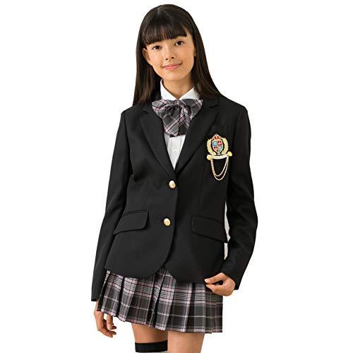 [DECORA PINKY'S] 卒業式 小学生 女の子 スーツ (ガールズフォーマル 5点セット) 子供服 リボン付き [ゆったりサイズ対応] ジュニア ガールズ グレー 160cm