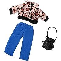 Dovewill 18インチ アメリカ女の子人形適用 ドール 服装 素敵 ぬいぐるみ  ヒョウ コート パンツ バッグ セット