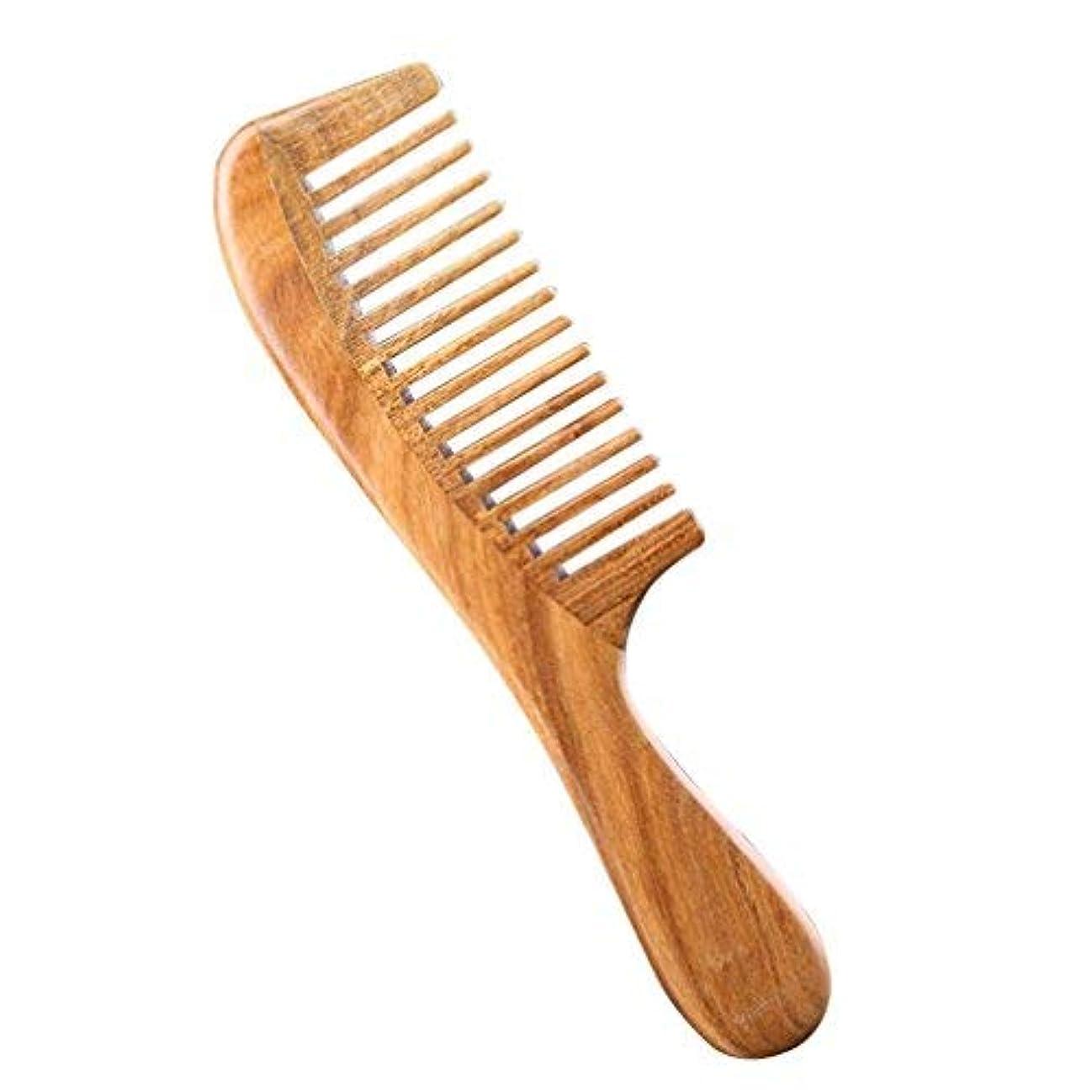 ノイズそっとリンケージPevor Green Sandalwood Hair Comb Anti-Static Wide-Tooth with Smooth Handle Natural Hand Made Scalp Massager Hair...