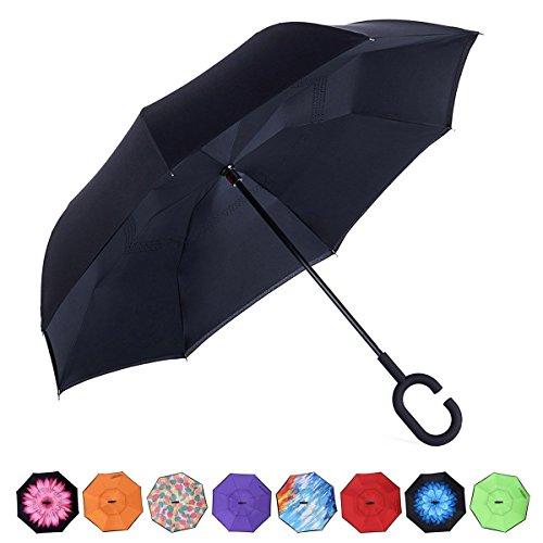 Chiasa 逆さ傘 長傘 さかさま傘 逆折り式傘 逆転傘 UVカット 晴雨...