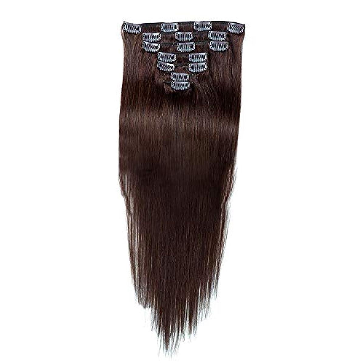 写真化合物交じる人間の髪の毛のエクステンションクリップレミーフルヘッドダブル横糸ストレートヘアピース。 (7個、#2ダークブラウン、20インチ、70g) モデリングツール (色 : #2 Dark Brown)